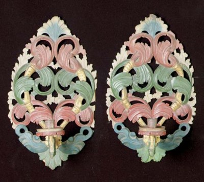 A PAIR OF ROCOCO STYLE POLYCHR