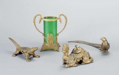A GROUP OF GILT-METAL OBJECTS,