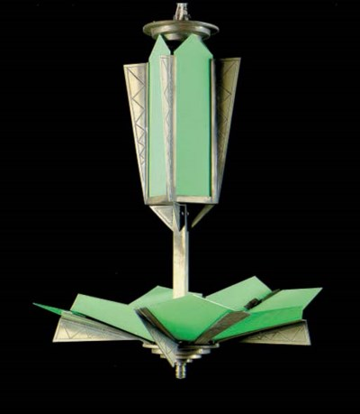 AN ART DECO GREEN GLASS AND CH