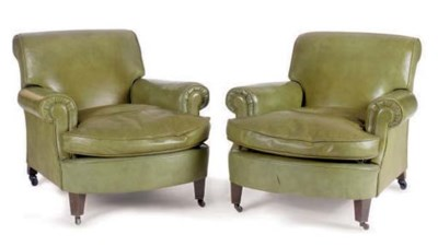 A PAIR OF GREEN LEATHER CLUB C