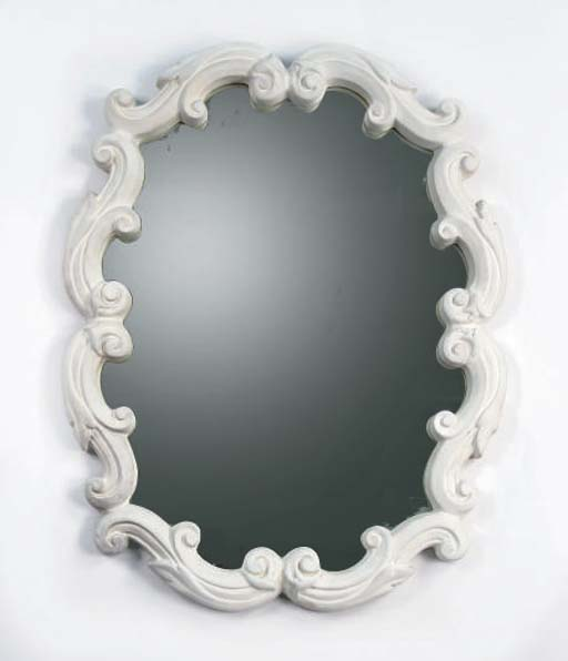 A WHITE-PAINTED PLASTER MIRROR