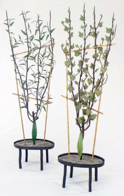 TWO TOLE PEINTE FAUX TREES,