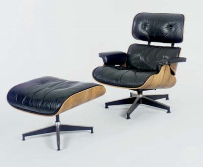 EAMES LEATHER RECLINER WITH FO