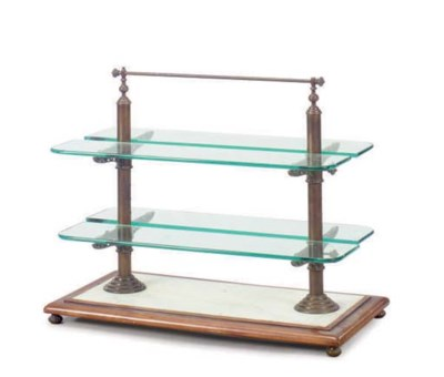 A FRUITWOOD, MARBLE, GLASS AND