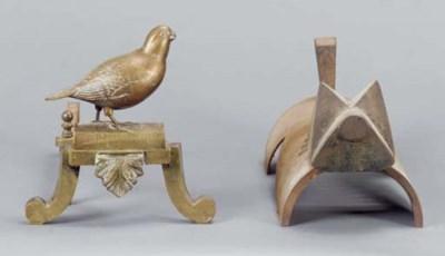 A PAIR OF BRASS BIRD ANDIRONS