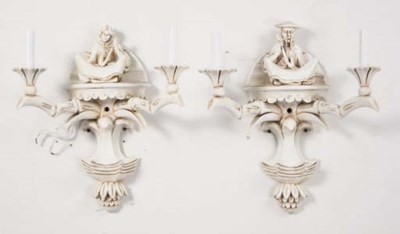 A PAIR OF WHITE-PAINTED TWO-LI