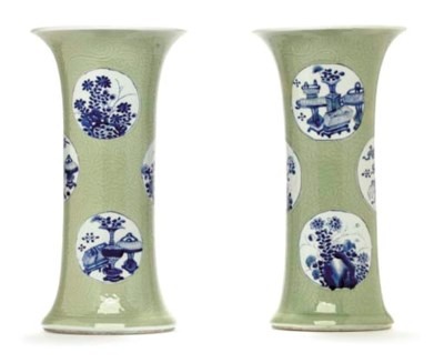 A PAIR OF CARVED CELADON AND U