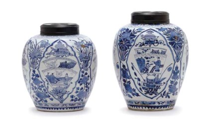 TWO BLUE AND WHITE GINGER JARS