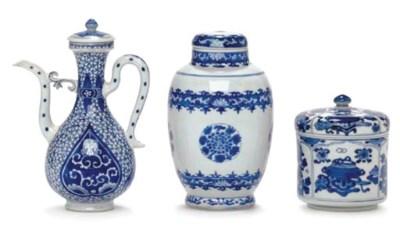 THREE SMALL BLUE AND WHITE ART
