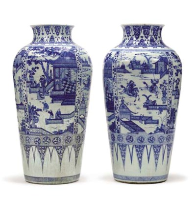 A PAIR OF BLUE AND WHITE