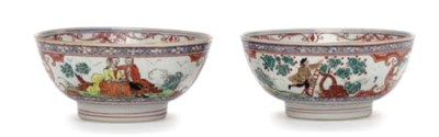 A PAIR OF DUTCH-DECORATED BOWL