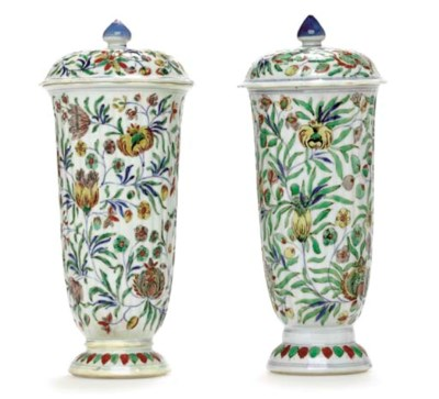 A PAIR OF FAMILLE VERTE FLUTED