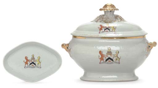 AN ARMORIAL SOUP TUREEN AND CO