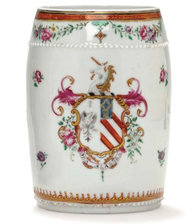 A LARGE BARREL-SHAPED ARMORIAL