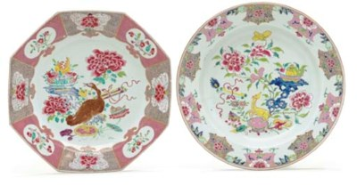 TWO LARGE FAMILLE ROSE DISHES