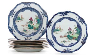 A SET OF EIGHT FAMILLE ROSE AN