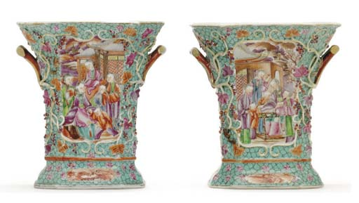 A PAIR OF TURQUOISE GROUND BOU