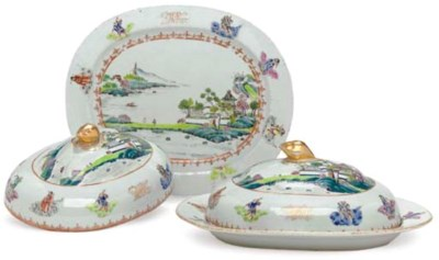 A PAIR OF OVAL DISHES AND COVE