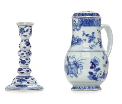 A BLUE AND WHITE CANDLESTICK A