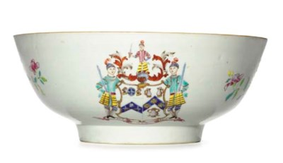 A FAMILLE ROSE ARMORIAL BOWL