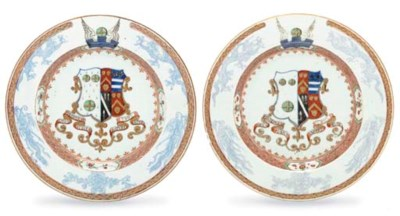 A PAIR OF ARMORIAL PLATES