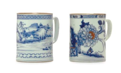 TWO BLUE AND WHITE MUGS