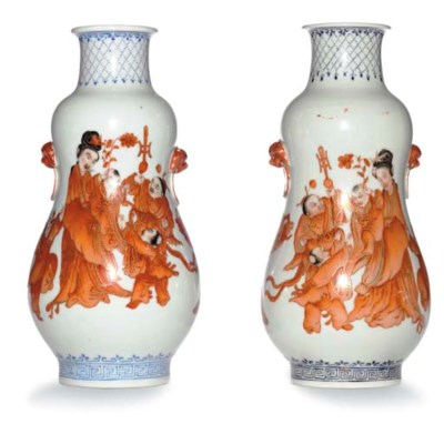 A PAIR OF GOURD SHAPED VASES