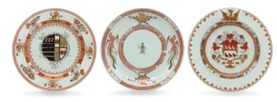 THREE ARMORIAL DISHES