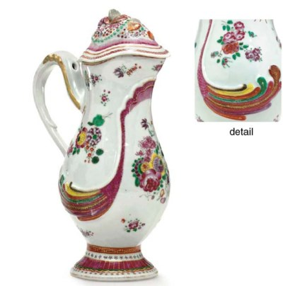 A FAMILLE ROSE ROCOCO EWER AND