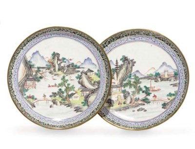 A PAIR OF ENAMEL DISHES