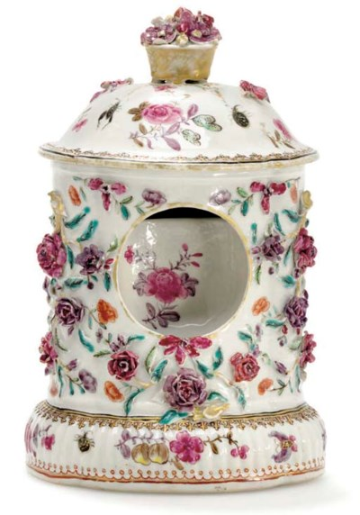 A FAMILLE ROSE WATCH-HOLDER AN