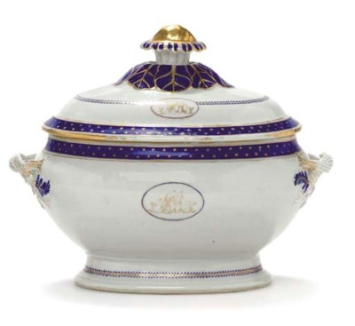 A SOUP TUREEN AND COVER