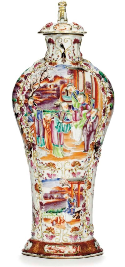 A 'MANDARIN PALETTE' VASE AND