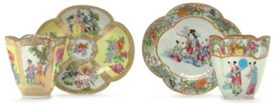 TWO MEISSEN STYLE CUPS AND SAU
