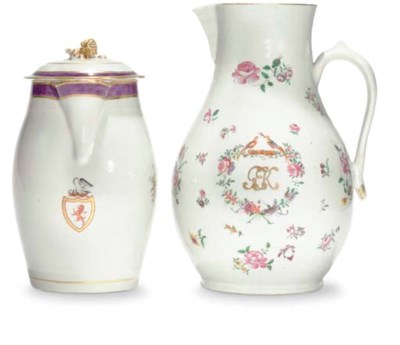 TWO CRESTED JUGS