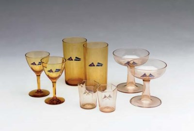 a collection of glassware from