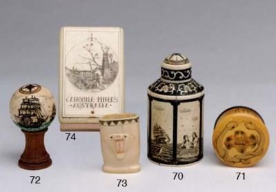 A 20th century scrimshaw spice