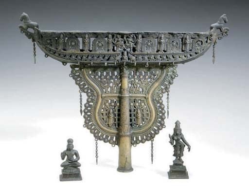 AN INDIAN BRONZE LAMP AND TWO