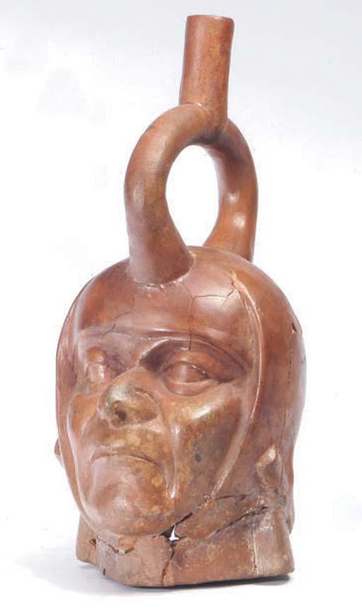 A MOCHICA PORTRAIT HEAD VESSEL