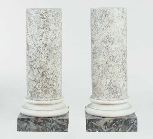 A PAIR OF FAUX MARBLE PEDESTAL