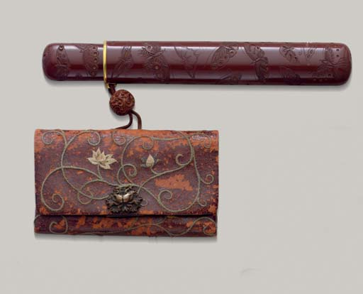 A Carved Lacquer Pipecase, A L