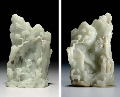 A PALE GREENISH-WHITE JADE MOU