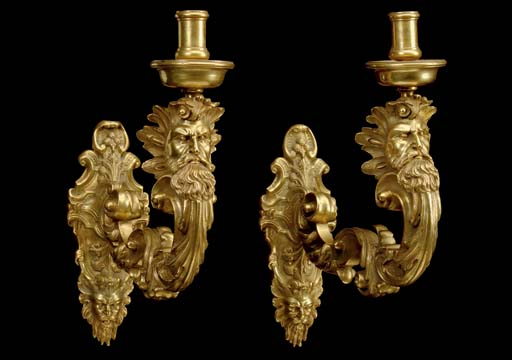A PAIR OF FRENCH BRASS WALL-LI