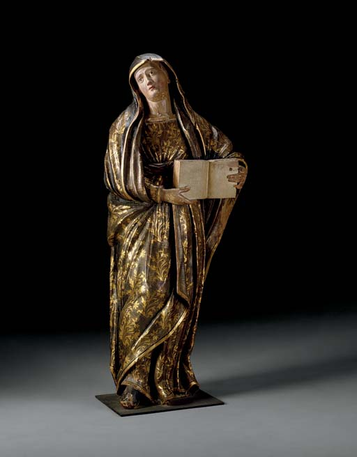 A SPANISH GILT AND POLYCHROME-