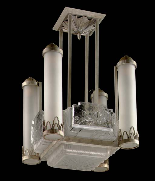 AN ART DECO FROSTED GLASS AND