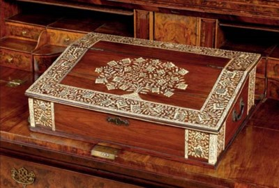 AN ANGLO-INDIAN IVORY-INLAID P