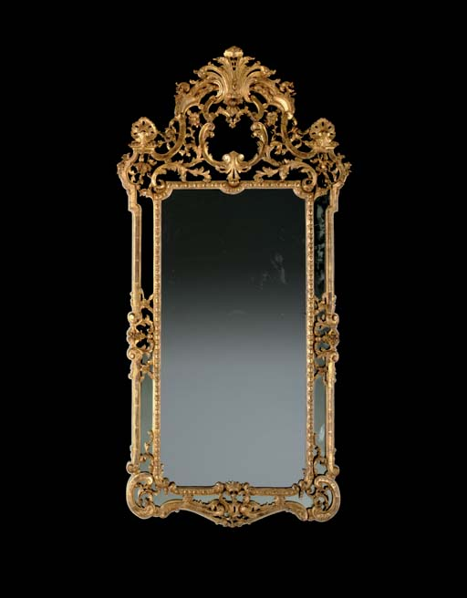 A NORTH EUROPEAN GILTWOOD MIRR