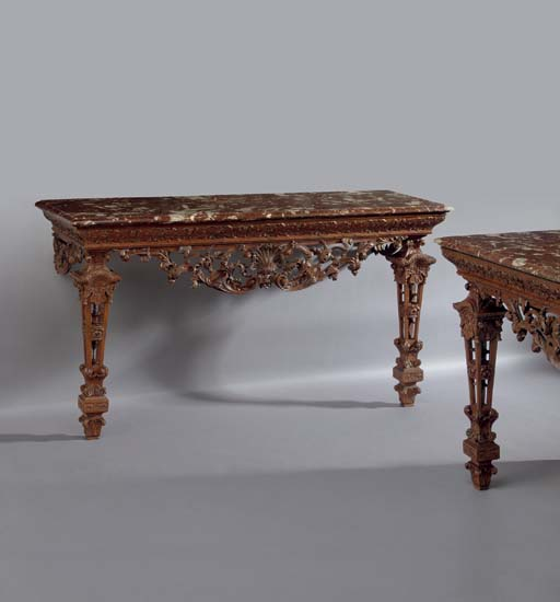 A PAIR OF FRENCH OAK CONSOLE T