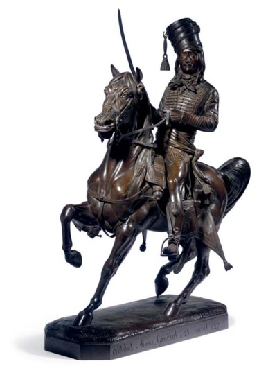 A FRENCH BRONZE SOLDIER ON HOR