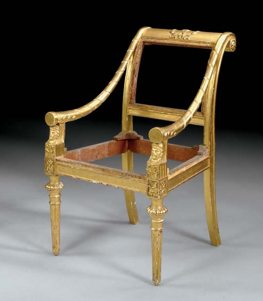 AN ITALIAN EMPIRE GILTWOOD AND